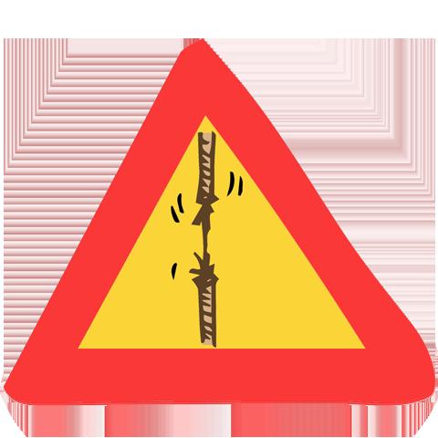 panneau de signalisation corde qui se déchire