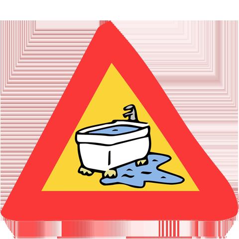 panneau de signalisation baignoire qui déborde