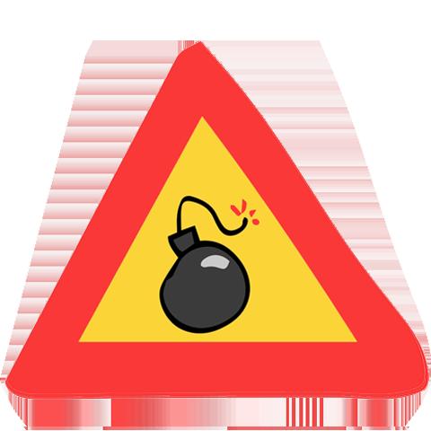 panneau de signalisation bombe